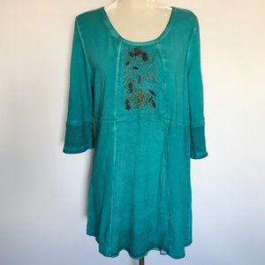 Soft Surroundings Teal Beaded Tunic Top PL